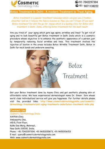 Botox Treatment In Delhi– A modern Treatment to Treat Aging