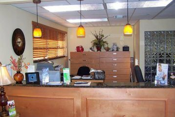 Reception area in the office of implant specialist Steven M Miller DDS