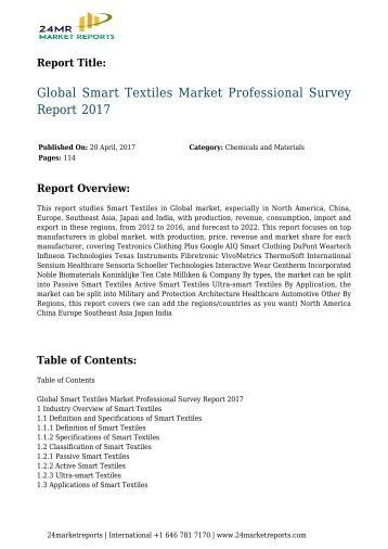 Global Smart Textiles Market Professional Survey Report 2017
