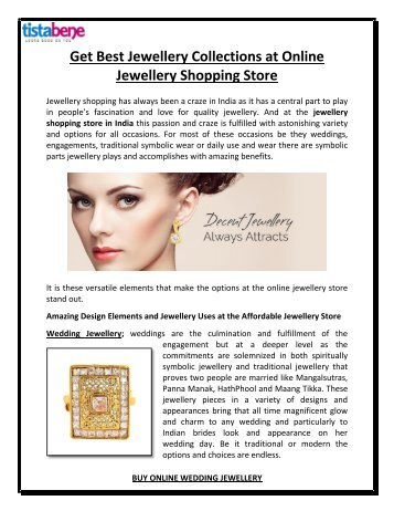 Get Best Jewellery Collections at Online Jewellery Shopping Store