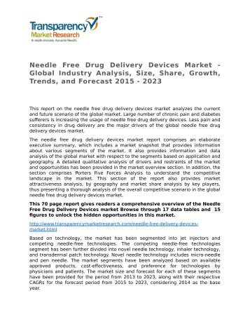 Needle Free Drug Delivery Devices Market - Global Industry Analysis, Size, Share, Growth, Trends, and Forecast 2015 - 2023