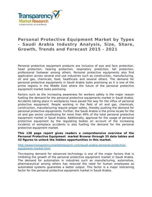 Personal Protective Equipment Market by Types - Saudi Arabia