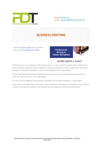 Professional Business Writing training course