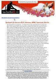 Hochzeit DJ Service RLP, Hessen, NRW, Saarland ... - hochzeitsDJ .tv