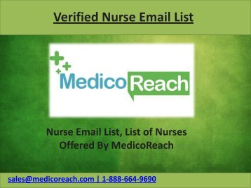 Targeted Nurse Email List - Registered Nurses Email Addresses