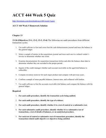 ACCT 444 Week 5 Quiz