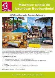 Mauritius: Urlaub im luxuriösen Boutiquehotel Angsana Balacalava