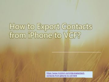 How to Export Contacts from iPhone to VCF?