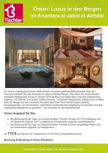 Oman: Luxus in den Bergen  im Anantara al Jabal al Akhdar
