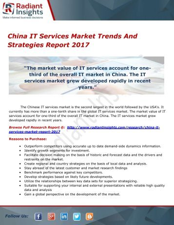 China IT Services Market Trends And Strategies Report 2017