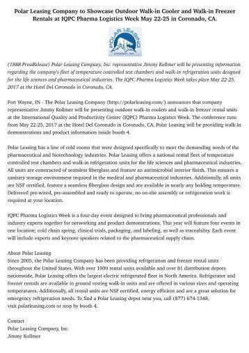 Polar Leasing Company to Showcase Outdoor Walk-in Cooler and Walk-in Freezer Rentals at IQPC Pharma Logistics Week May 22-25 in Coronado, CA.
