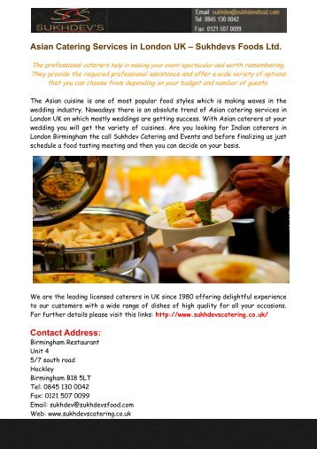 Asian Catering Services in London UK – Sukhdevs Foods Ltd.