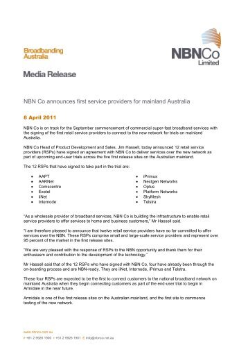 NBN Co announces first service providers for mainland Australia
