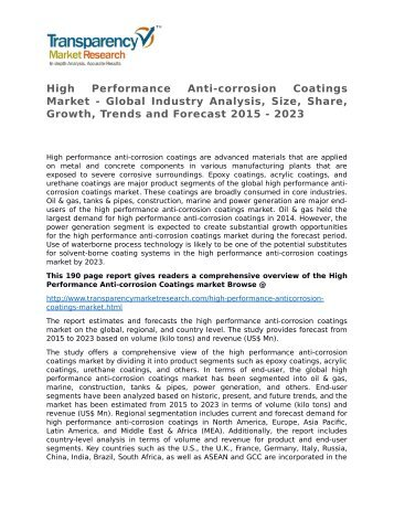 High Performance Anti-corrosion Coatings Market - Global Industry Analysis, Size, Share, Growth, Trends and Forecast 2015 - 2023