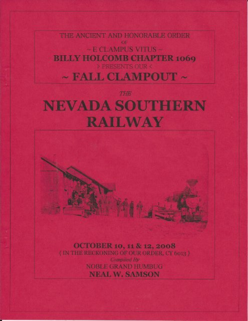 """6013/2008 Fall Clampout \""""Nevada Southern Railway\"""" History"""