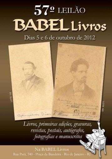 continuação do pregão do dia 5 de outubro de 2012 - BABEL Livros