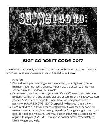 SIGT Concert Code 2017