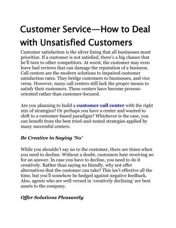 How to Deal with Unsatisfied Customers