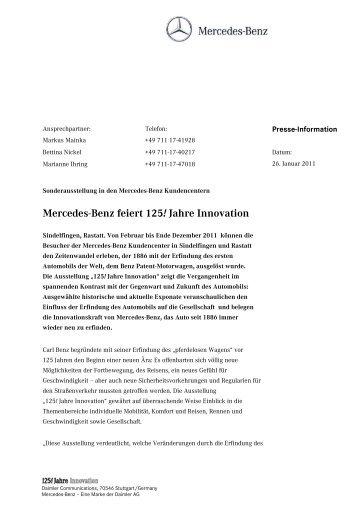 Mercedes-Benz feiert 125! Jahre Innovation - LifePR.de