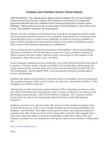 Exablaze and Solarflare Resolve Patent Dispute