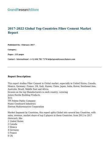 2017-2022 Global Top Countries Fiber Cement Market Report