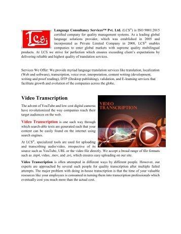 Video Translation-Closed Captioning-Video Subtitling-Video Transcription
