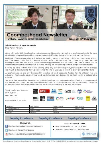 Coombeshead Academy Newsletter - Issue 60