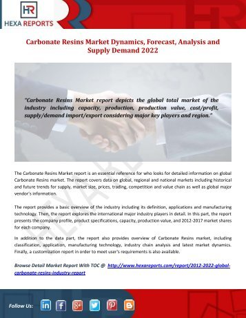 Carbonate Resins Market Dynamics, Forecast, Analysis and Supply Demand 2022