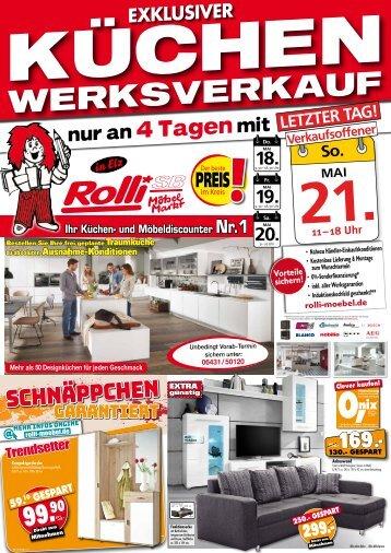 Exklusiver Küchen-Sonderverkauf bei Rolli SB-Möbelmarkt in 65604 Elz