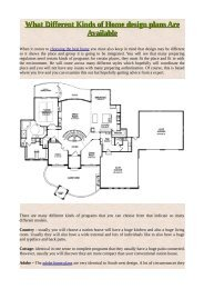 What Different Kinds of Home design plans Are Available