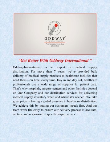 HIV/AIDS drugs wholesale distributors | OddwayInternational