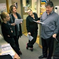 Dr Keefe meets up with his staff to plan out the day