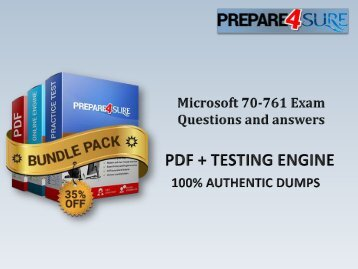 Latest 70-761 Exam Questions  Valid SQL Server 70-761 PDF Dumps with Verified 70-761 Answers