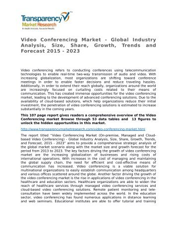 Video Conferencing Market - Global Industry Analysis, Size, Share, Growth, Trends and Forecast 2015 - 2023