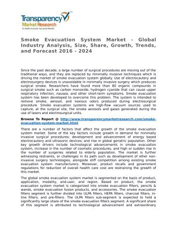 Smoke Evacuation System Market - Global Industry Analysis, Size, Share, Growth, Trends, and Forecast 2016 - 2024