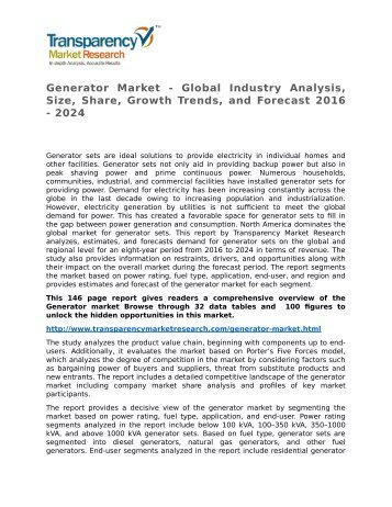 Generator Market - Global Industry Analysis, Size, Share, Growth Trends, and Forecast 2016 - 2024
