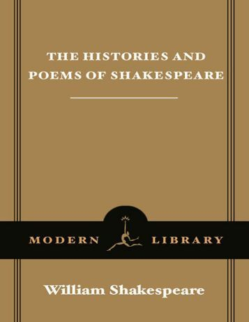 Shakespeare, W - Histories & Poems of William Shakespeare (Modern Library, 1995)