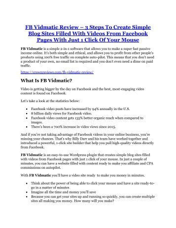FB Vidmatic Review and (MASSIVE) $23,800 BONUSES
