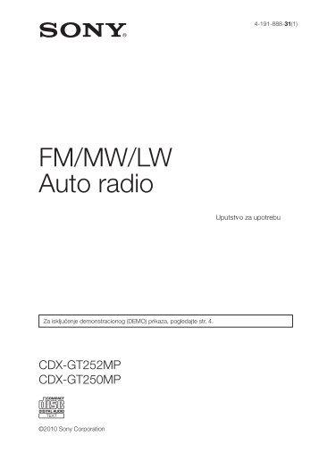 Sony CDX-GT250MP - CDX-GT250MP Mode d'emploi Serbe