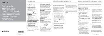 Sony SVS13A1Y9E - SVS13A1Y9E Guide de dépannage Polonais
