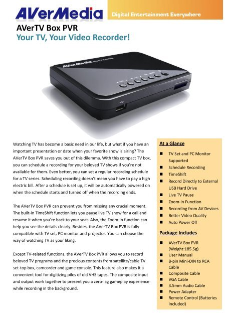 AVerTV Box PVR Your TV, Your Video Recorder! - AVerMedia