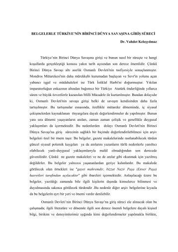 Belgelerle Osmanlı'nın dünya savaşına giriş