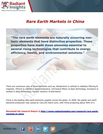 Rare Earth in China Market Overview and Trends Forecast