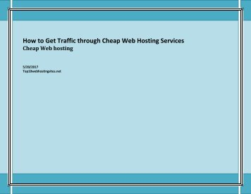 How to Get Traffic through Cheap Web Hosting Services