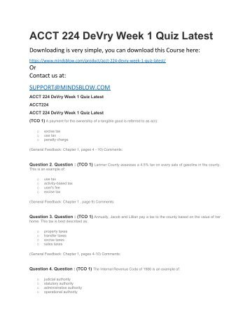 ACCT 224 DeVry Week 1 Quiz Latest