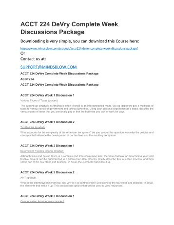 ACCT 224 DeVry Complete Week Discussions Package