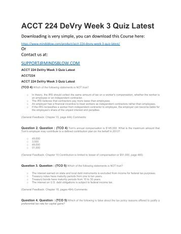 ACCT 224 DeVry Week 3 Quiz Latest