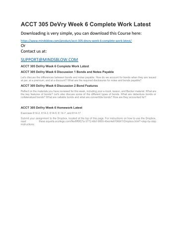 ACCT 305 DeVry Week 6 Complete Work Latest