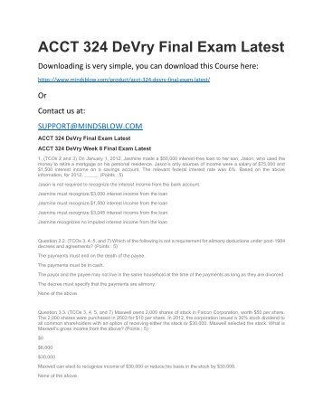 ACCT 324 DeVry Final Exam Latest
