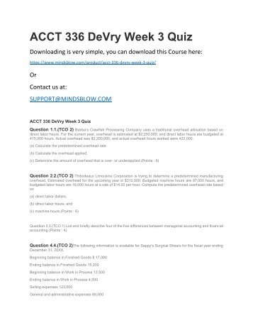 ACCT 336 DeVry Week 3 Quiz